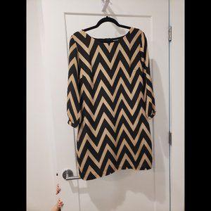 Black and Tan Chevron Dress - Size 13